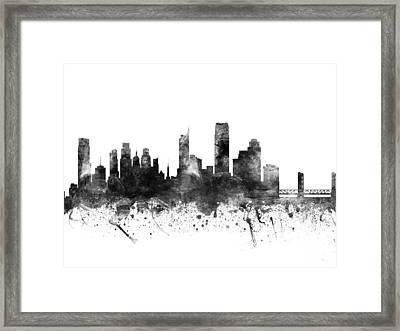 Sacramento California Cityscape 02bw Framed Print by Aged Pixel
