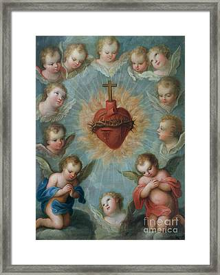 Sacred Heart Of Jesus Surrounded By Angels Framed Print by Jose de Paez