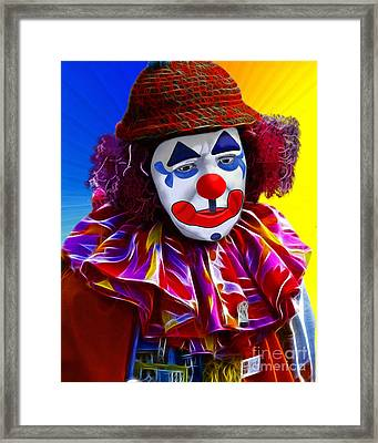 Sad Clown Framed Print by Methune Hively