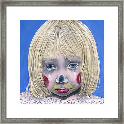 Sad Little Girl Clown Framed Print by Patty Vicknair