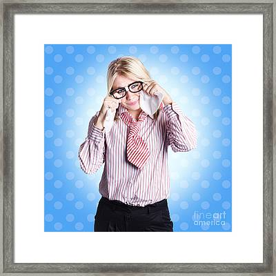 Sad Worker In Business Trouble Framed Print by Jorgo Photography - Wall Art Gallery