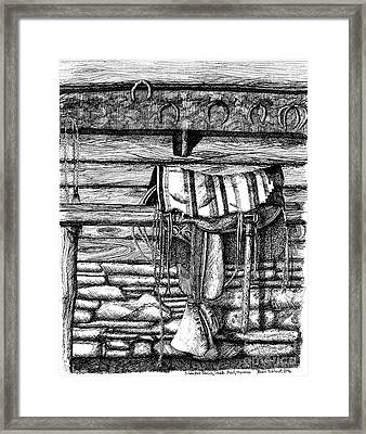 Saddle In Old Barn, Ready To Ride Framed Print by Dawn Boyer