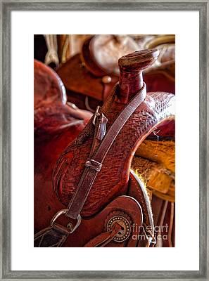 Saddle In Tack Room Framed Print by Inge Johnsson