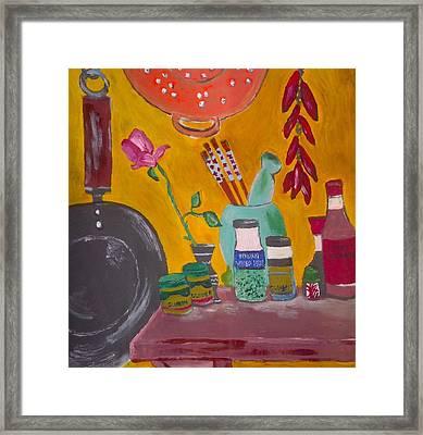 Saffron And Chillies Framed Print by Julie Butterworth