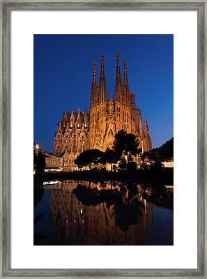 Sagrada Familia Cathedral In Barcelona Framed Print by Blaz Gvajc