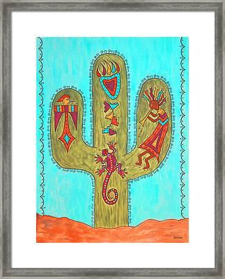 Saguaro Soiree Framed Print by Susie WEBER
