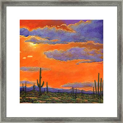 Saguaro Sunset Framed Print by Johnathan Harris