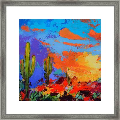 Saguaros Land Sunset By Elise Palmigiani - Square Version Framed Print by Elise Palmigiani