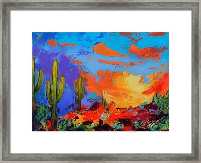 Saguaros Land Sunset Framed Print by Elise Palmigiani
