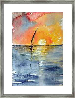 Sailboat At Sunrise Framed Print by Kovacs Anna Brigitta