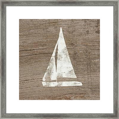 Sailboat On Wood- Art By Linda Woods Framed Print by Linda Woods