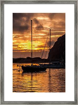 Sailboat Sunset At Morro Bay Framed Print by Jan and Burt Williams