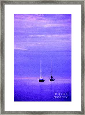 Sailboats In Blue Framed Print by Timothy Johnson