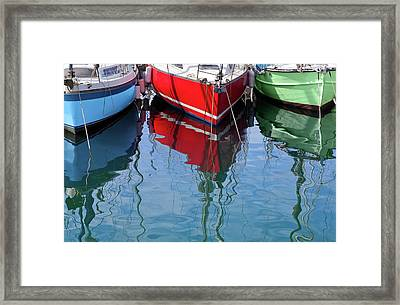 Sailboats In Rgb Framed Print by Al Hurley