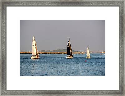 Sailboats On The Boston Harbor Boston Harbor Islands Framed Print by Toby McGuire