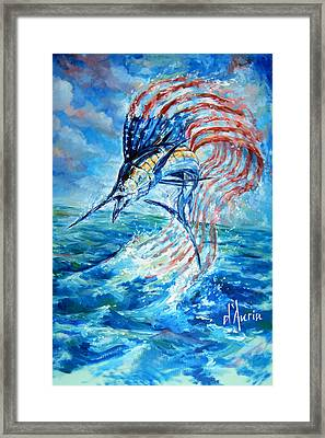 Sailfish Americana Framed Print by Tom Dauria