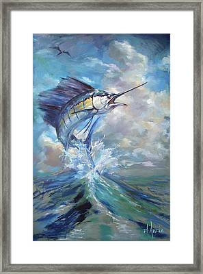 Sailfish And Frigate Framed Print by Tom Dauria