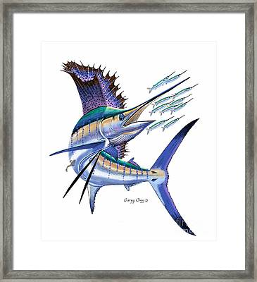 Sailfish Digital Framed Print by Carey Chen