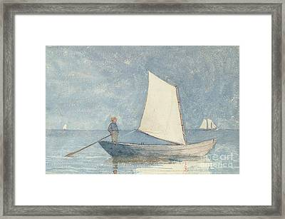 Sailing A Dory Framed Print by Winslow Homer