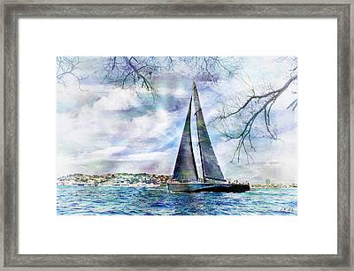 Sailing Boat Titan,seaside,cottage, Framed Print by Jean Francois Gil