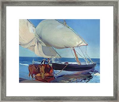 Sailing Boats Framed Print by Joaquin Sorolla y Bastida