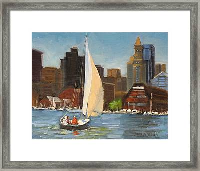 Sailing Boston Harbor Framed Print by Laura Lee Zanghetti