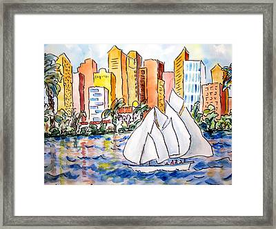Sailing In San Diego Framed Print by Suzanne Stofer