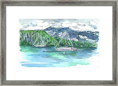 Sailing Lake Tahoe Framed Print by Cathie Richardson