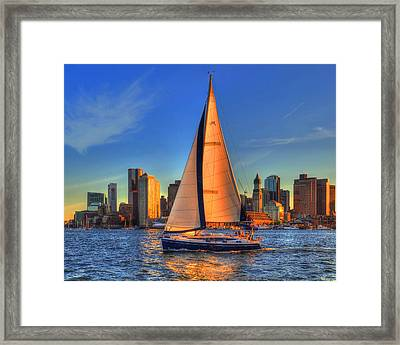 Sailing On Boston Harbor Framed Print by Joann Vitali
