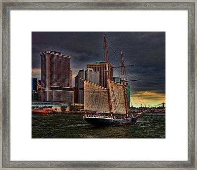 Sailing On The East River Framed Print by Chris Lord