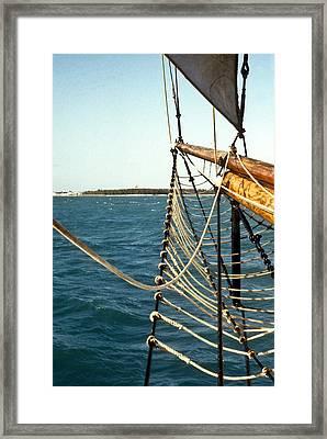 Sailing Ship Prow On The Caribbean Framed Print by Douglas Barnett