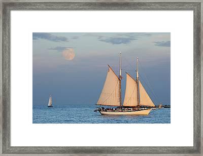 Sailing Ship With Moon Framed Print by Abhi Ganju