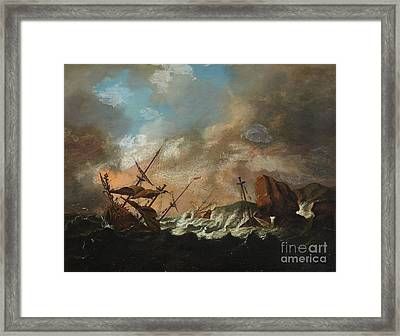 Sailing Ships In A Storm Framed Print by Celestial Images