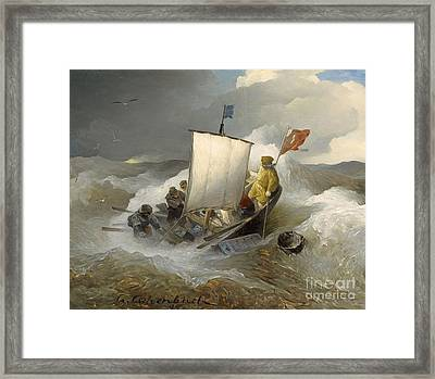 Sailing Ships In Stormy Sea Framed Print by MotionAge Designs