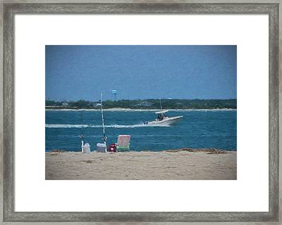 Boating Through Bogue Inlet Framed Print by Sandi OReilly