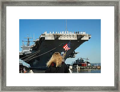 Sailors Aboard Aircraft Carrier Uss Framed Print by Stocktrek Images