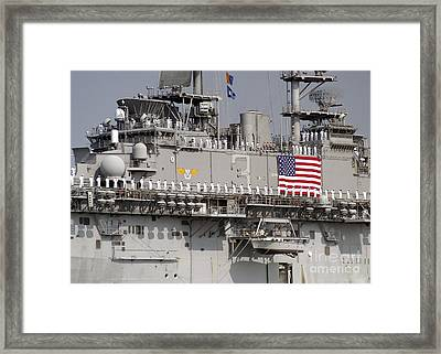 Sailors Aboard Uss Kearsarge Man Framed Print by Stocktrek Images
