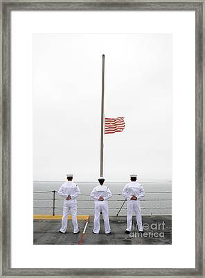 Sailors Pay Tribute Aboard Uss Essex Framed Print by Stocktrek Images