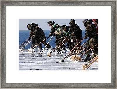 Sailors Scrub The Flight Deck Framed Print by Everett