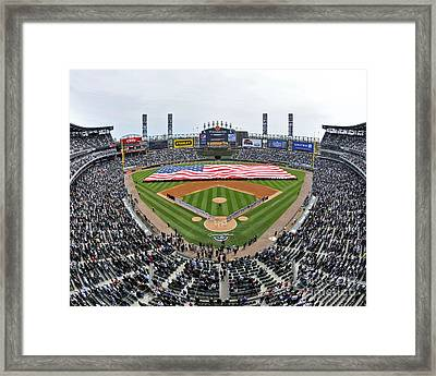 Sailors Unfurl An American Flag Chicago U.s. Cellular Field Framed Print by Celestial Images