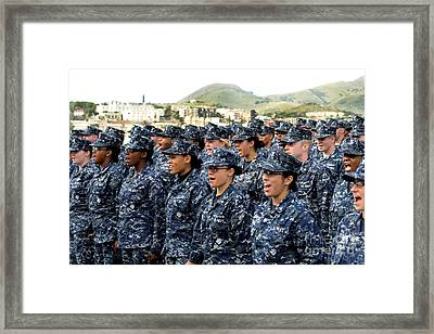 Sailors Yell Before An All-hands Call Framed Print by Stocktrek Images