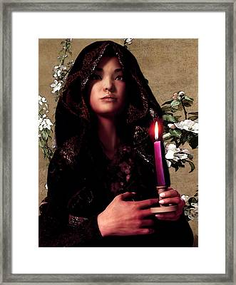 Saint Agnes Gui Ying Cao With Cherry Blossoms Framed Print by Suzanne Silvir