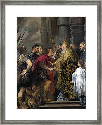Saint Ambrose Barring Theodosius I From Milan Cathedral Framed Print by Anthony van Dyck