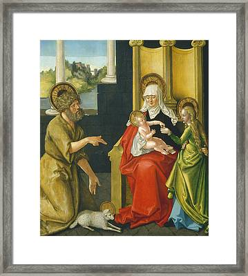 Saint Anne With The Christ Child - The Virgin - And Saint John The Baptist Framed Print by Hans Baldung Grien