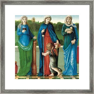 Saint Barbara And Saint Dorothy With Saint Agnes Framed Print by Sir Edward Coley Burne-Jones