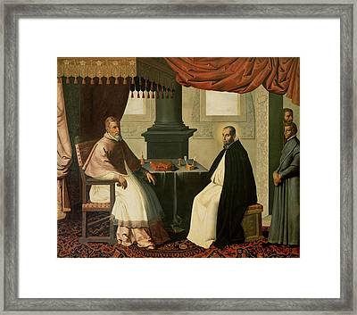 Saint Bruno And Pope Urban II Framed Print by Francisco de Zurbaran