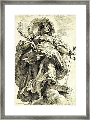 Saint Catherine In The Clouds Framed Print by Peter Paul Rubens