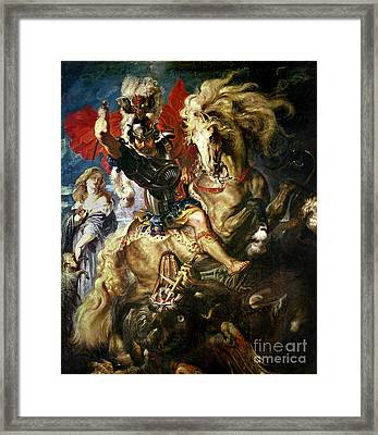 Saint George And The Dragon Framed Print by Peter Paul Rubens