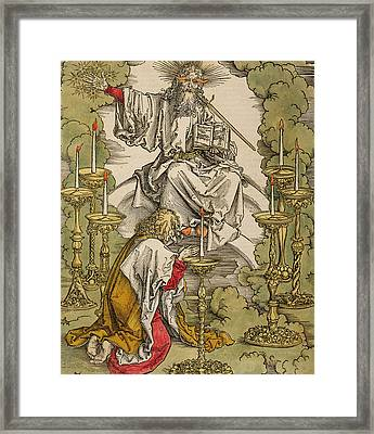 Saint John On The Island Of Patmos Receives Inspiration From God To Create The Apocalypse Framed Print by Albrecht Durer or Duerer