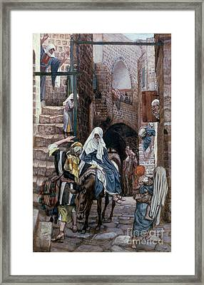 Saint Joseph Seeks Lodging In Bethlehem Framed Print by Tissot